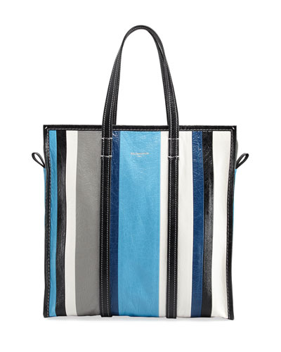 Bazar Medium Striped Leather Shopper Tote Bag