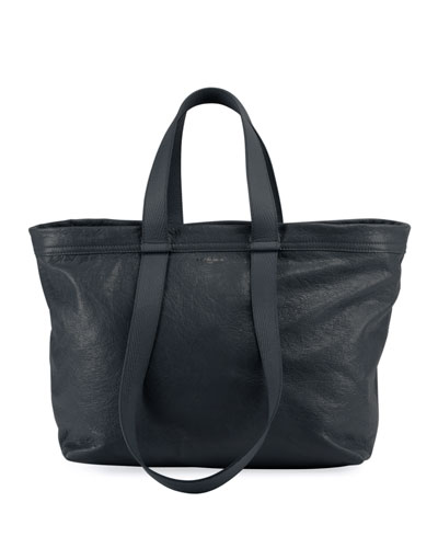 Carry Shopper Leather Tote Bag, Black