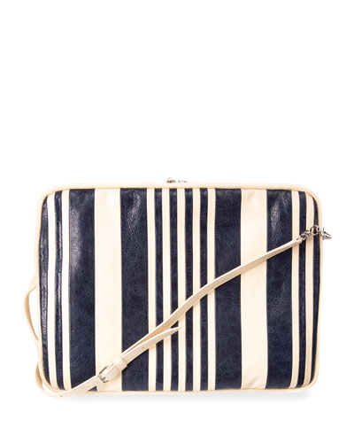 Striped Cushion Rectangle AJ Bag, Blue