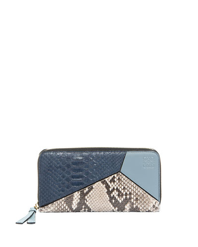 Puzzle Snakeskin & Leather Zip Wallet, Blue