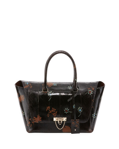 Demilune Patent Snakeskin Satchel Bag, Chocolate