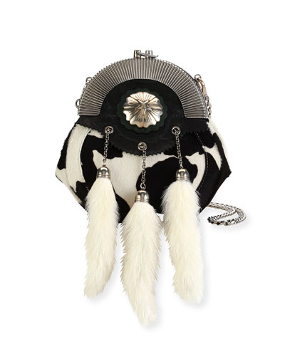 Calf Hair Clutch Bag with Rabbit Fur Charms