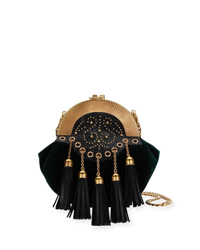 Embellished Velvet Chain Shoulder Bag