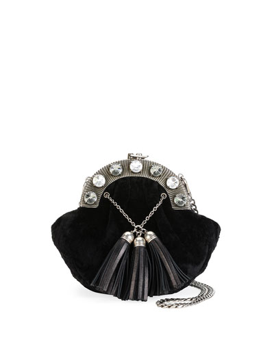 Velvet Tassel Clutch Bag, Black