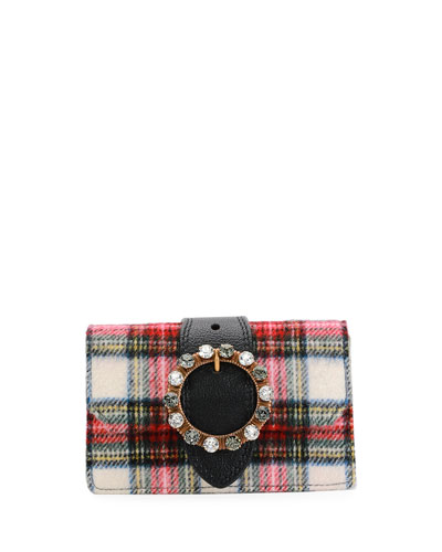 Plaid Wool Buckle Clutch Bag