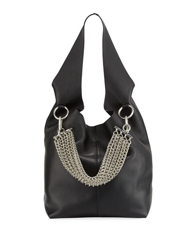 Genesis Box Chain Hobo Bag, Black