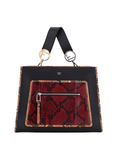 Runaway Medium Leather Tote Bag w/ Python Patch