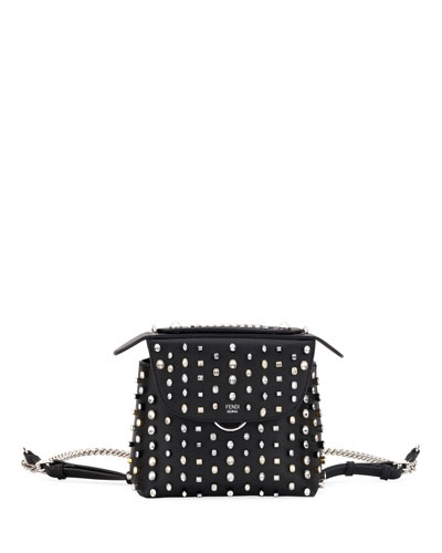 Back To School Crystal-Studded Mini Backpack/Crossbody Bag