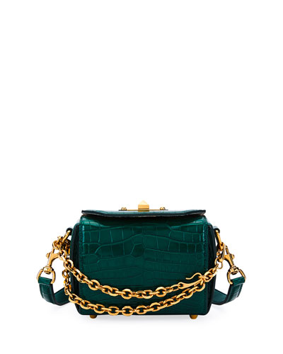 Box Bag 16 Alligator Shoulder Bag, Green