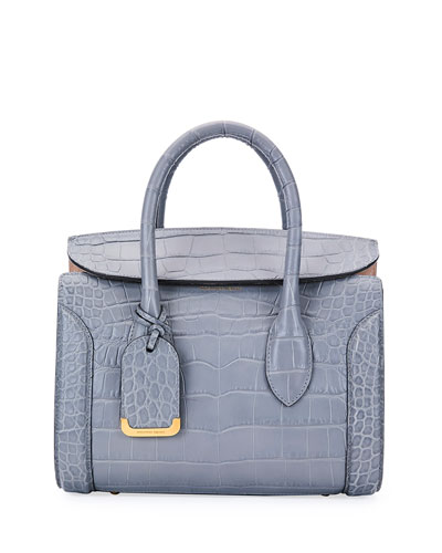 Heroine 30 Croc-Embossed Satchel Bag, Gray