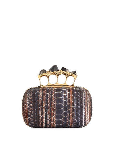 Python Knuckle Clutch Bag