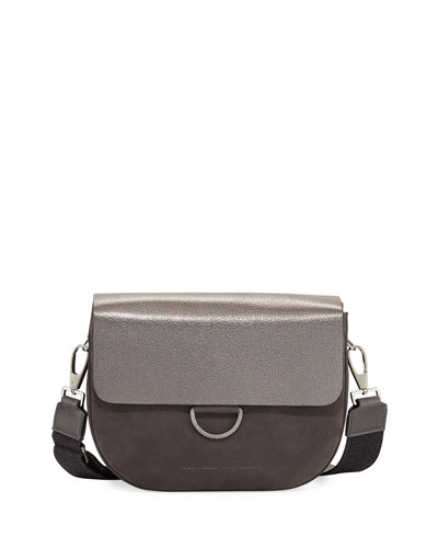Metallic Leather/Nubuck Crossbody Bag