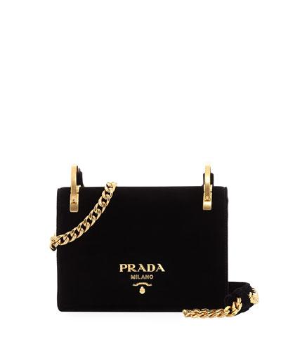 PRADA Pattina Velvet Chain Shoulder Bag, Black