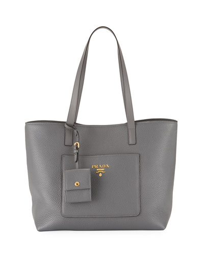 Medium Vitello Daino Open Tote Bag, Gray