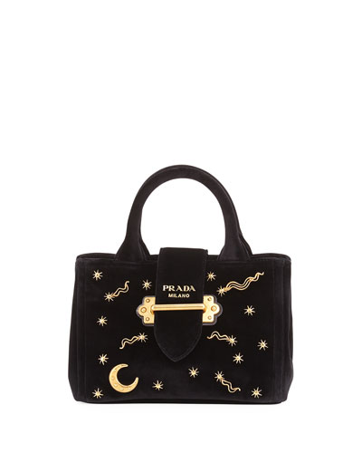 Small Velvet Moon & Star Crossbody Tote Bag, Black (Nero)