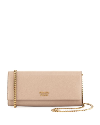 Saffiano Clutch w/ Crossbody Chain
