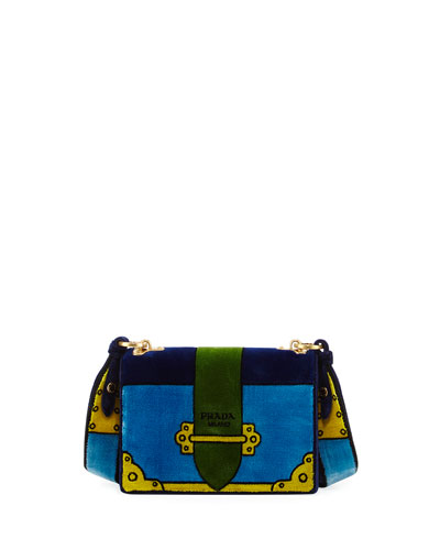 Cahier Trompe l'Oeil Velvet Shoulder Bag