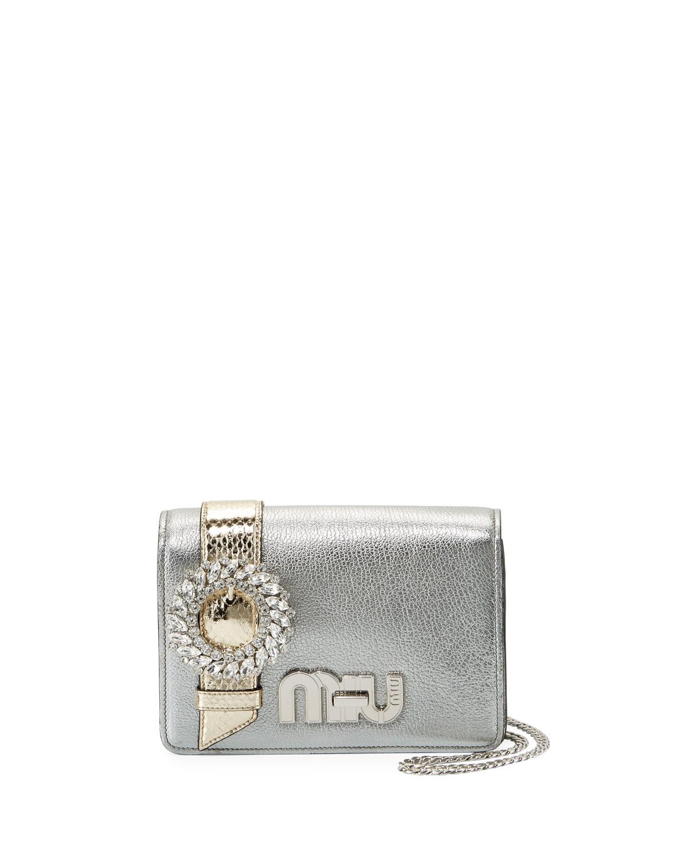 My Miu Small Metallic Jeweled Clutch Bag