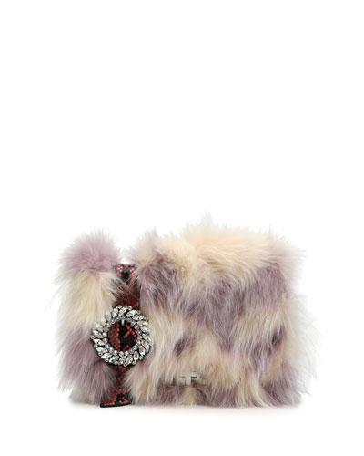 Jeweled Fox Fur & Python Clutch Bag