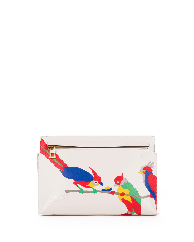T Mini Parrot Pouch Bag, White