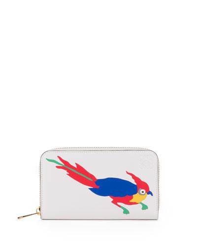 Medium Zip-Around Parrot Wallet, White/Multi
