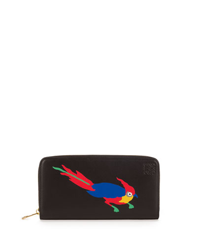 Parrot Zip-Around Wallet, Black/Multi