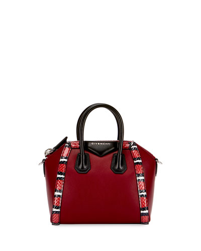 Antigona Mini Snake-Trim Satchel Bag