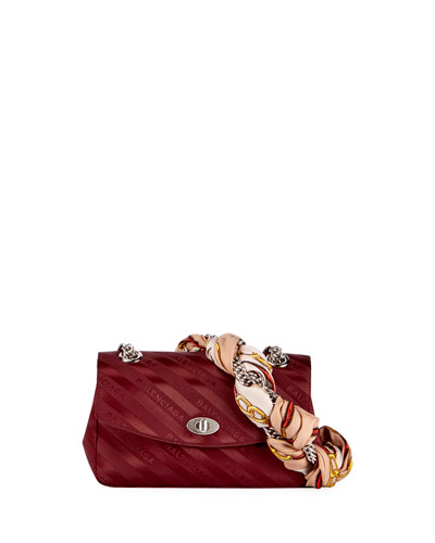 Lock Round Small Scarf Satin Shoulder Bag