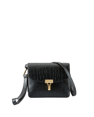 Lock AJ Crocodile-Embossed Crossbody Bag