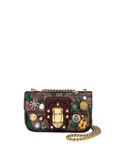 Lucia Embellished Jacquard Shoulder Bag