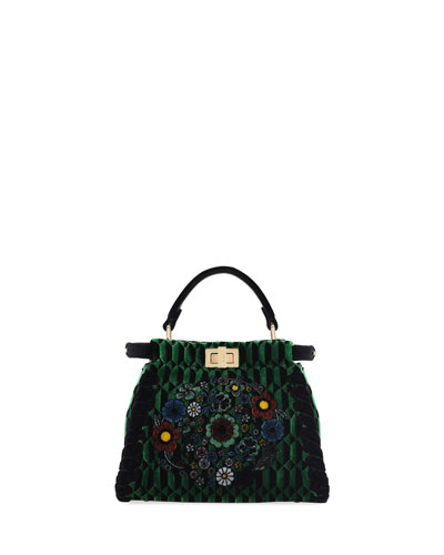 Peekaboo Mini Floral Velvet Satchel Bag