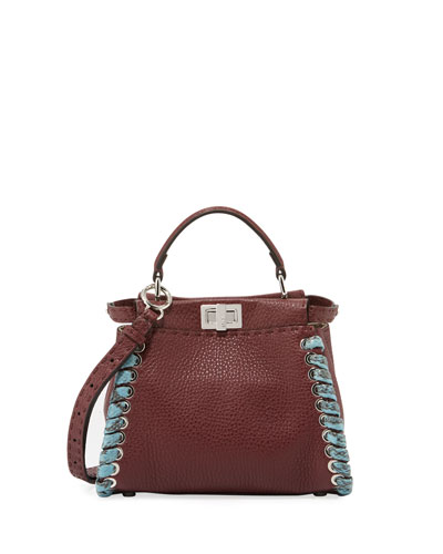Peekaboo Mini Leather Satchel Bag with Snakeskin Whipstitching