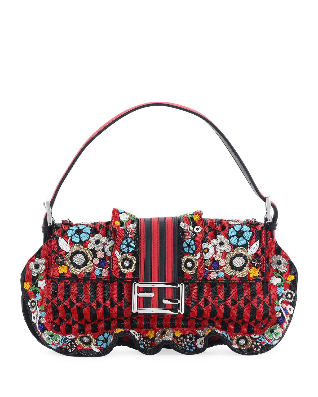 Baguette Floral Beaded Shoulder Bag