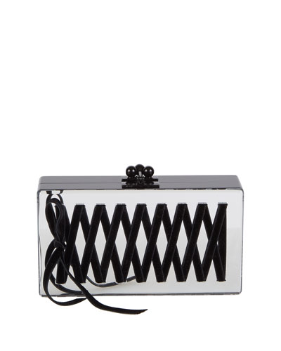 Jean Mirrored Corset Box Clutch Bag, Silver
