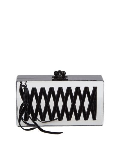 Jean Mirrored Corset Box Clutch Bag, Silver