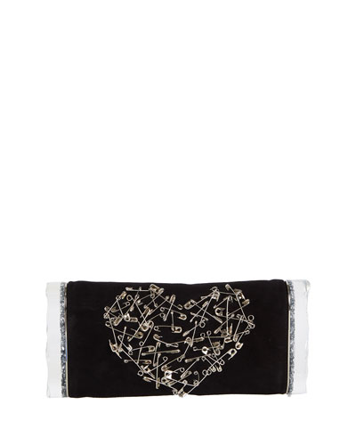 Soft Lara Heart Pin Clutch Bag, Black