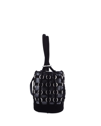 'Roxy' Ring Velvet Caged Leather Mini Bucket Bag in Black