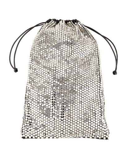 Ryan Rhinestone Dustbag Pouch - Metallic, Silver