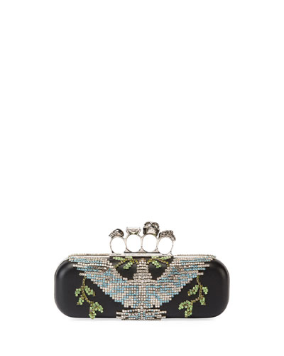 Crystal Dove Knuckle Box Clutch Bag