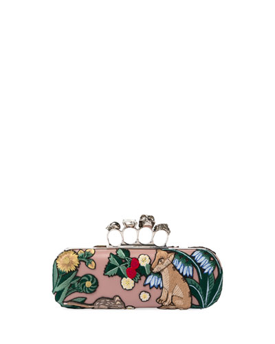 Woodland Fox Embroidered Knuckle Box Clutch Bag, Multi Pattern