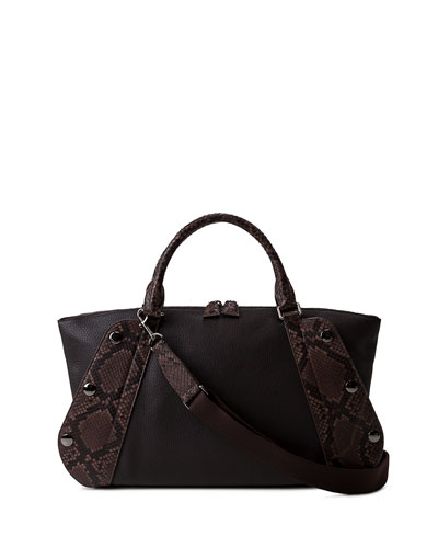 Aimee Small Bicolor Leather/Python Satchel Bag