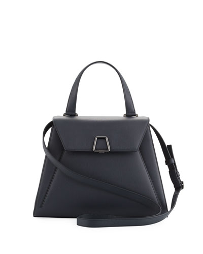 Alba Structured Leather Top-Handle Bag, Navy