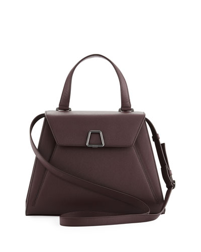 Alba Structured Leather Top-Handle Bag, Purple