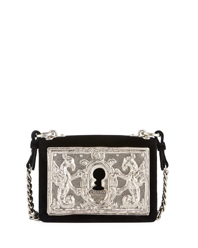Small Lock Velvet Trunk Crossbody Bag