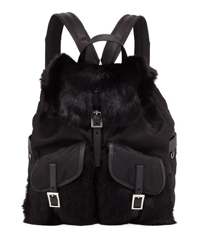 Tessuto & Rabbit Fur Backpack