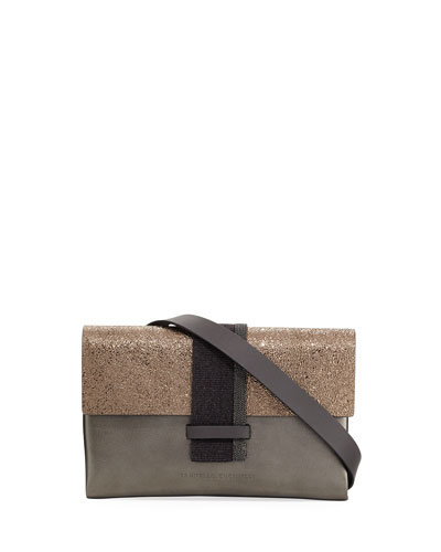 Metallic Leather Crossbody Bag