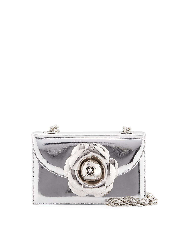 Rose Metallic Chain Clutch Bag