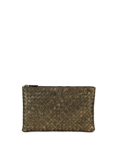 Metallic Intrecciato Zip Pouch Bag/Cosmetics Case
