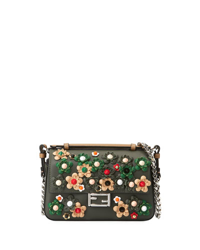 Micro Baguette Double-Sided Floral-Studded Shoulder Bag