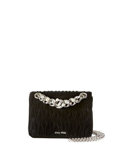 Velvet Matelasse Chain Shoulder Bag
